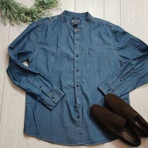 NWT American Rag mandarin collar Jean shirt